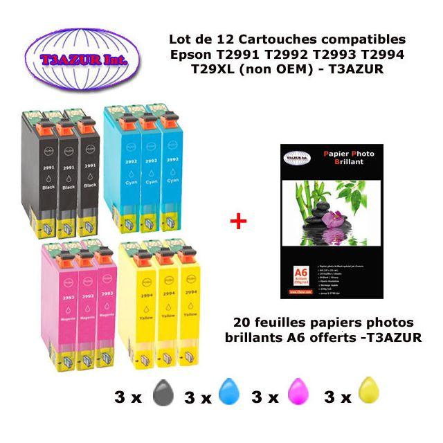 t3azur 12 pack compatible epson 29xl pour expression home xp 235 245 247 332 335 342 345 432. Black Bedroom Furniture Sets. Home Design Ideas