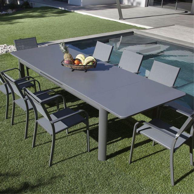 Alinéa - Tulipe Table de jardin extensible grise en verre texturé 6 ...
