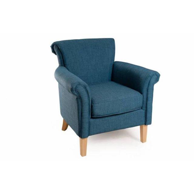 Inside 75 Fauteuil aliénor design cosy Kate tissu bleu azur