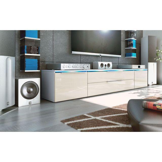 mpc - meuble tv bas blanc / crème 200 cm - pas cher achat / vente