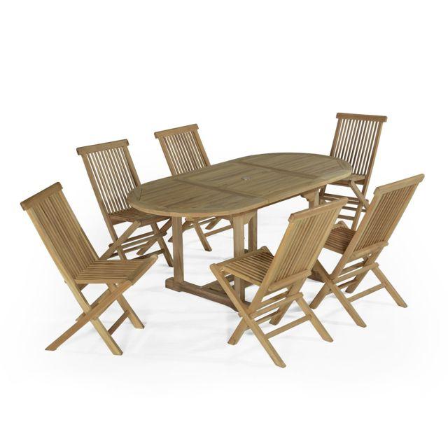 Teck\'ATTITUDE - Salon de jardin en teck Ecograde Manille, table ...