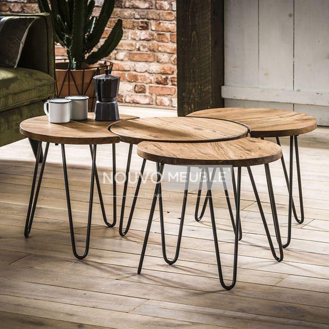 Nouvomeuble Table de salon en bois massif Raen 3