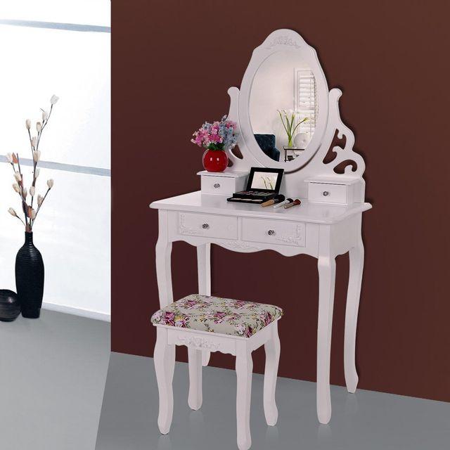 Rocambolesk Superbe Coiffeuse blanc Table de maquillage avec miroir et tabouret 139 x 75 x 40cm Rdt04W neuf