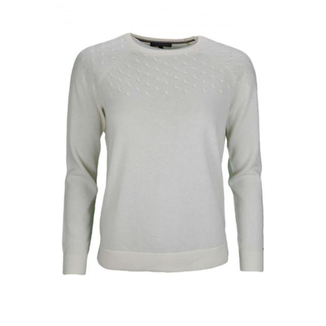 Tommy hilfiger - Pull col rond en laine blanc pour femme - pas cher Achat    Vente Pulls femme - RueDuCommerce dcdb832ad1d1