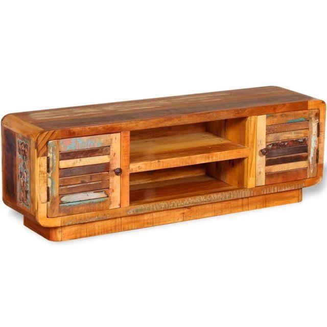 Helloshop26 Meuble télé buffet tv télévision design pratique bois de récupération massif 120 cm 2502157