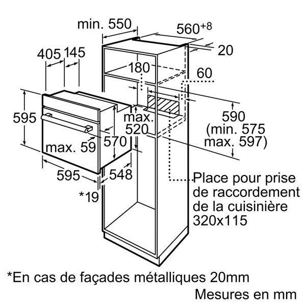 Bosch - four intégrable 66l 60cm a émail inox - hbn231e4