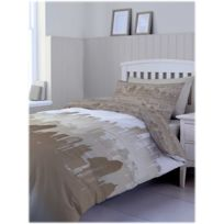 Catherine Lansfield - Housse couette +2taies Cityscape beige