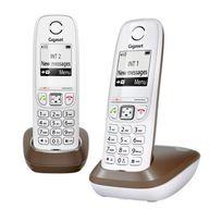 GIGASET - téléphone sans fil dect duo blanc/chocolat avec répondeur - as405 duo chocolat