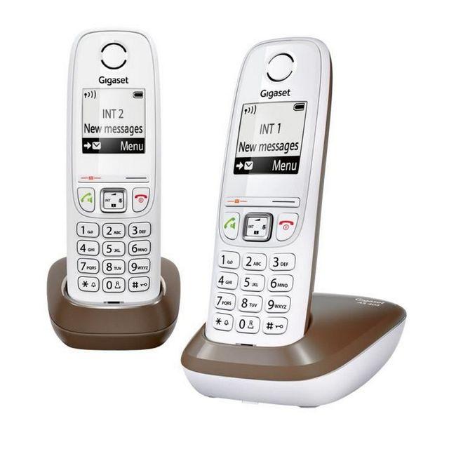 gigaset t l phone sans fil dect duo blanc chocolat avec r pondeur as405 duo chocolat pas. Black Bedroom Furniture Sets. Home Design Ideas