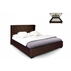 declikdeco lit coffre simili cuir choco rabatya 180x200 cm pas cher achat vente structures. Black Bedroom Furniture Sets. Home Design Ideas