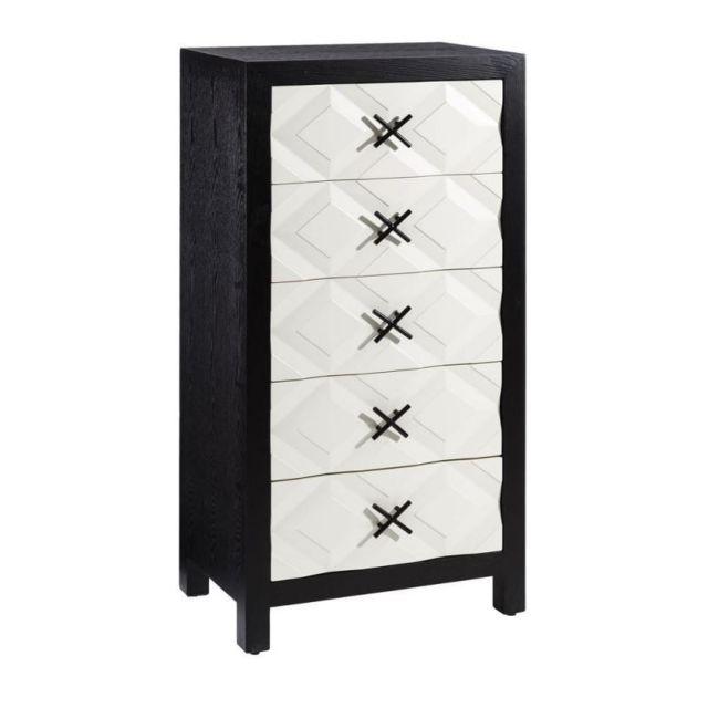 Tousmesmeubles Chiffonnier 5 tiroirs Noir/Blanc - Monoi - L 60 x l 40 x H 122