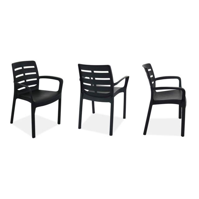 OVIALA - Table de jardin carrée et 4 fauteuils plastique ...