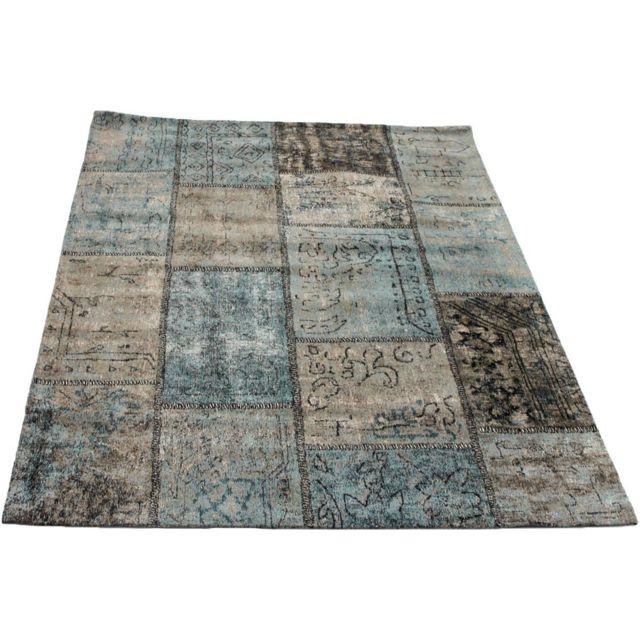 vivabita tapis patchwork vintage bleu ptrole en coton topaz 160 230 pas cher achat vente tapis rueducommerce - Tapis Patchwork