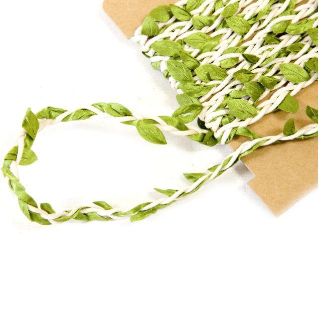 Visiodirect Lot de 10 Rubans forme feuille coloris Vert et naturel - Dim : 8 mm x 2 m