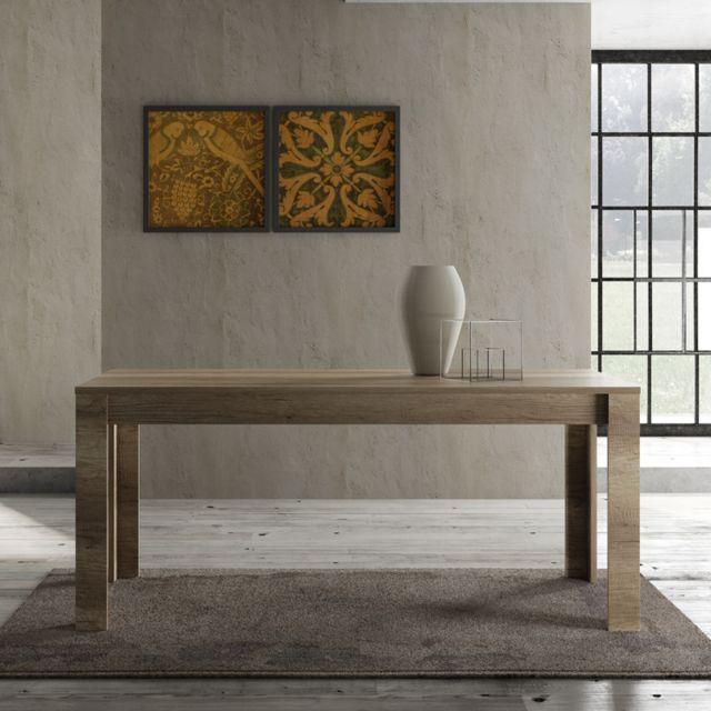 Tousmesmeubles Table de repas 180 cm Chêne moyen - Verone