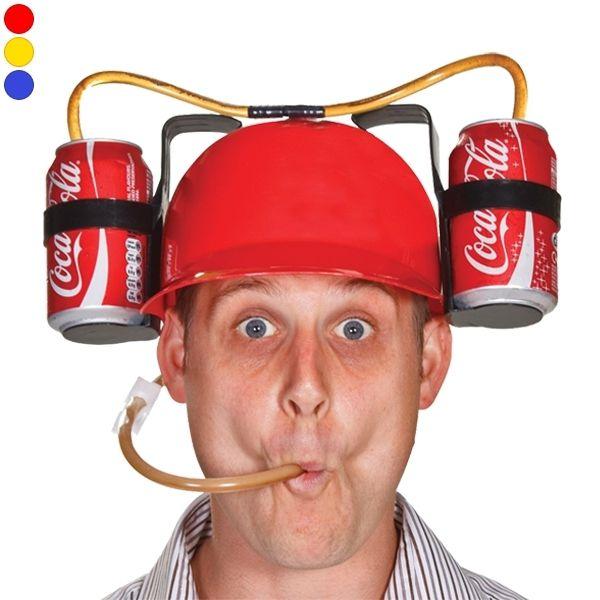 Totalcadeau Casque à boire avec paille et double support à bouteilles boissons rouge