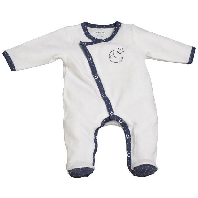 Sauthon - Pyjama bébé blanc 1 mois Merlin - pas cher Achat   Vente Pyjamas 7b417f97a80