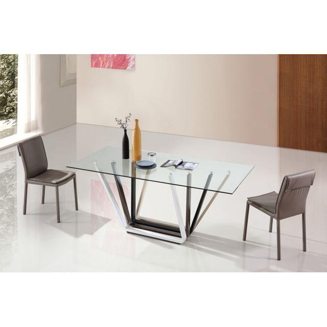 Oneboutic Table à manger design transparent en verre - Manarola
