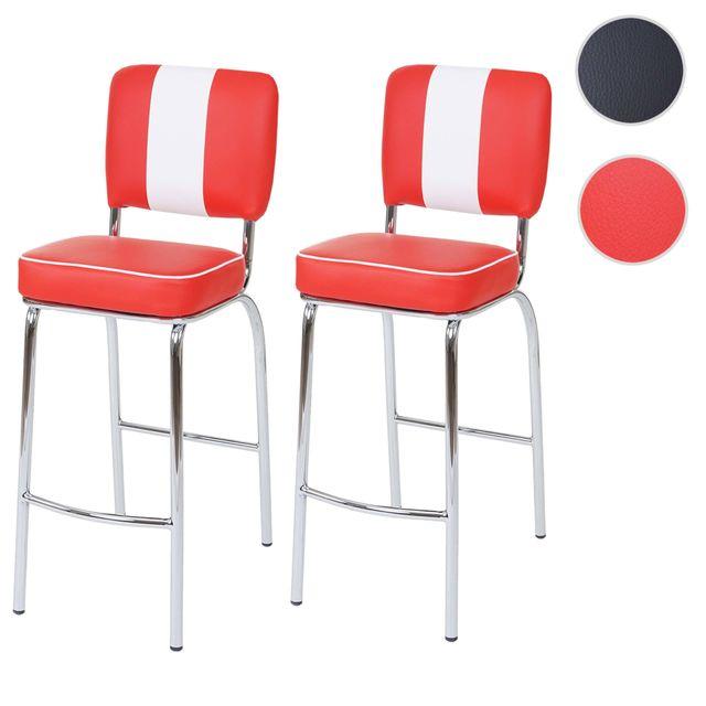 Mendler 2x tabouret de bar Avellino, chaise de comptoir, design rétro des années 50, similicuir ~ rouge / blanc