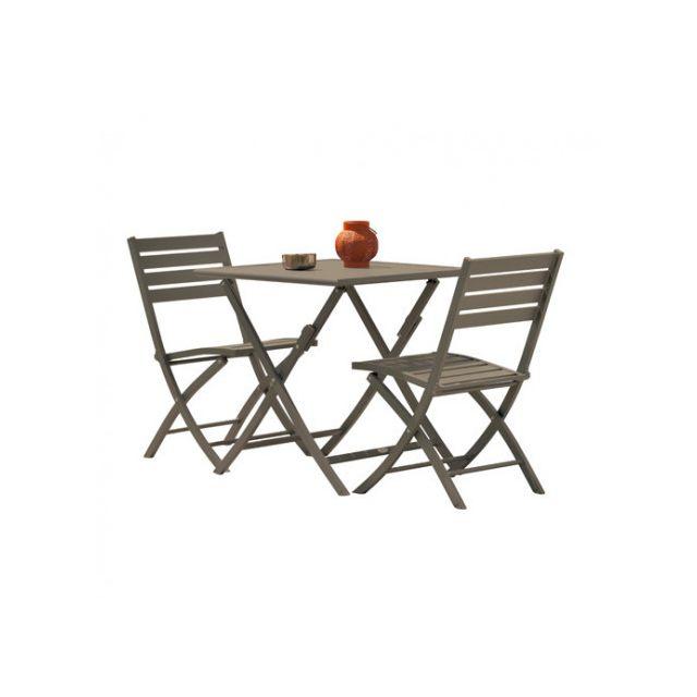 Marius pliant longueur0 cm pliantesCouleur aluminium2 70X70 en chaises Gris Guéridon 4A3qj5RcL