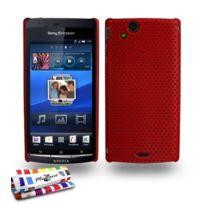 """Muzzano - Coque Rigide Ultra-Slim """"Alveolia"""" Premium Rouge pour Sony Xperia Arc S"""