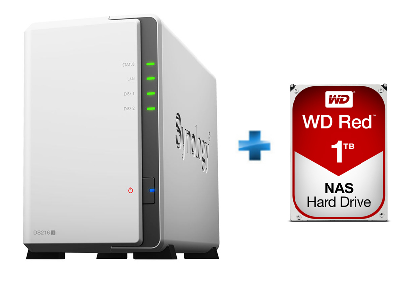 Pack NAS 2 baies DS216J + Disque Dur WD Red 1 To