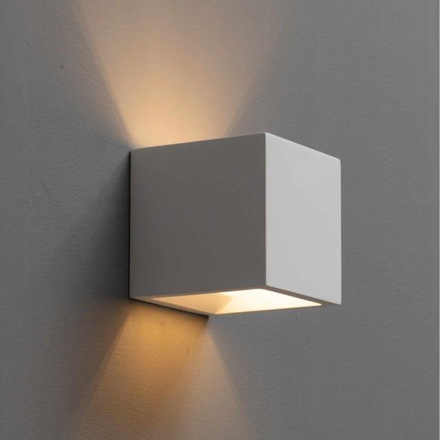Kosilum Applique plâtre cube blanc - Nevada
