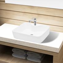 Rocambolesk - Superbe Vasque carré à trou pour robinet céramique blanc pour salle de bain neuf