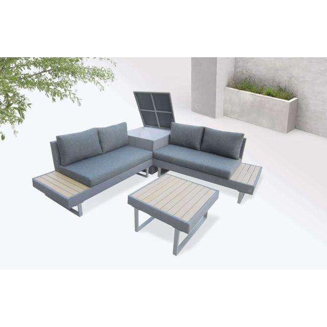 Palma - Salon de jardin en angle 5 places - Aluminium / Composite - Coffre  Couleur - Gris