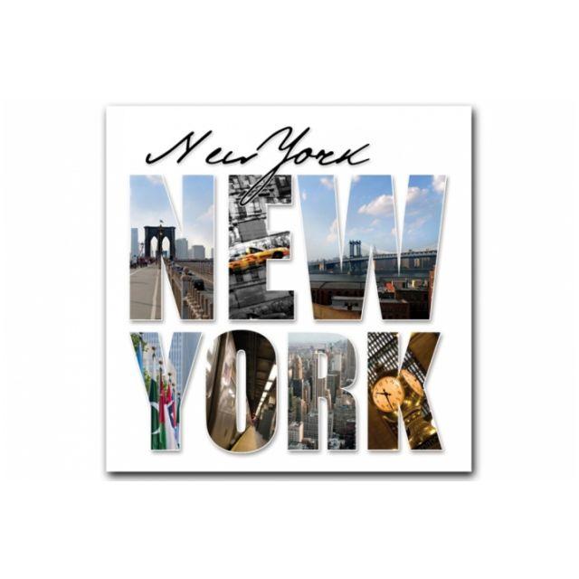 declikdeco tableau new york lettres panorama 50x50 cm pas cher achat vente tableaux. Black Bedroom Furniture Sets. Home Design Ideas