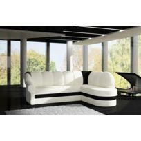 BestMobilier - Benano - CanapÉ D Angle Droite Convertible - 250x180x85cm Couleur - Blanc / Noir