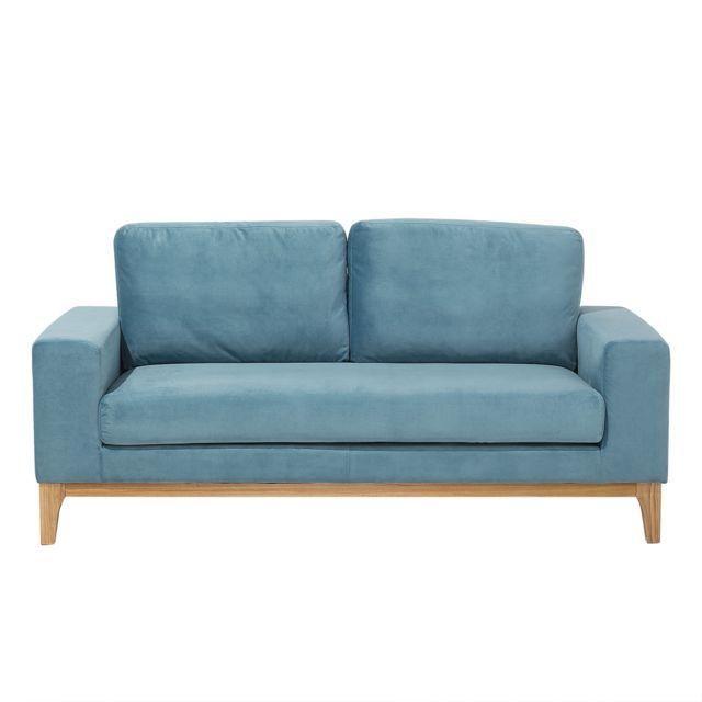 BELIANI Canapé 2 places en velours bleu clair TIDAN
