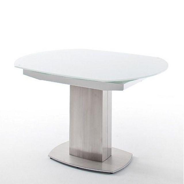 Inside 75 Table repas extensible Zilia 130 x 105 cm verre blanc