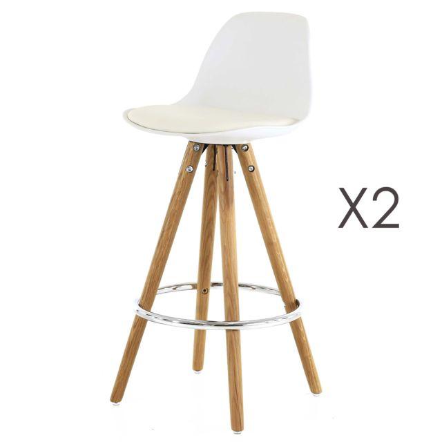 Marque Generique Lot de 2 chaises de bar blanc Soray