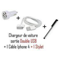 Cabling - Chargeur allume cigare double Usb pour Apple iPhone iPod Nano Touch Mp3 Mp4 , Iphone 3, Iphone 3GS, Iphone 4, + Stylet