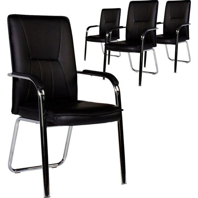Comforium Lot de 4 chaises modernes en pvc coloris noir et pieds acier chromé
