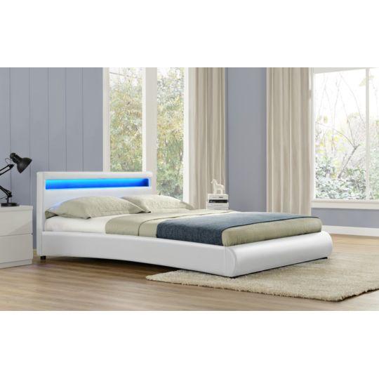 Design et Prix - Magnifique Lit Roma 140x190cm - Cadre de lit Led en simili cuir Blanc