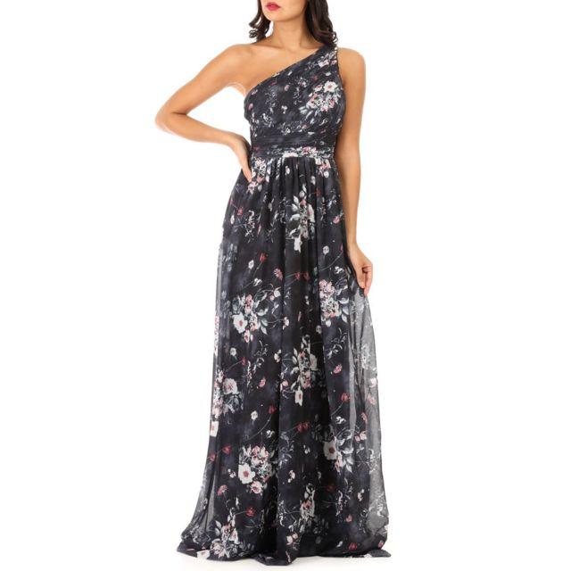 LAMODEUSE Robe longue noire asymétrique à fleurs