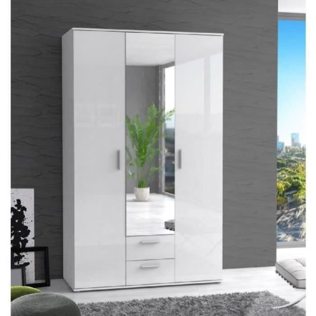 ARMOIRE DE CHAMBRE Armoire de chambre SELKEÄ style contemporain blanc laqué brillant - L 121 cm