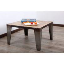 Miliboo - Table basse bois massif et métal industrielle Atelier