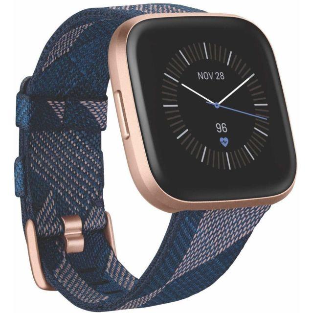 Fitbit Versa 2 Special Edition, Smartwatch Health & Fitness avec commande vocale, Sleep Score & Music - Se Navy & rose tissé