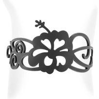 Lady Gum - Bracelet Femme Silicone Noir Hibiscus 1240