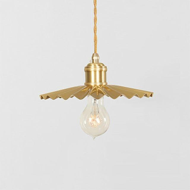 Wewoo Suspension luminaire Lustre Lampe Suspendue plissé en laiton nostalgique à tête unique cuivre pur avec lumière Led blanc