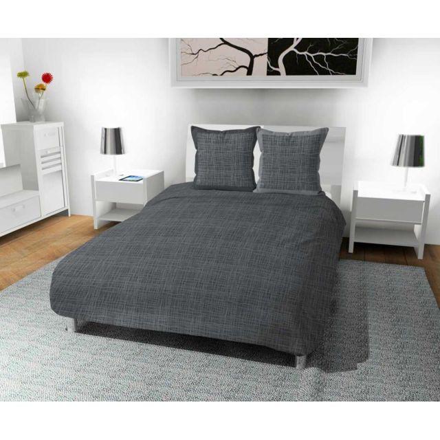 soleil d 39 ocre parure housse de couette 260x240 cm en coton 57 fils galaxy gris par pas cher. Black Bedroom Furniture Sets. Home Design Ideas