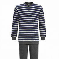 Ringella - Pyjama forme jogging en coton bouclé : tee-shirt manches longues col tunisien à rayures gris clair, gris anthracite et bleu électrique, pantalon gris