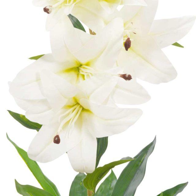 Icaverne Fleurs Et Plantes Artificielles Ligne Plante Artificielle Lys Avec Pot Blanc 65 Cm