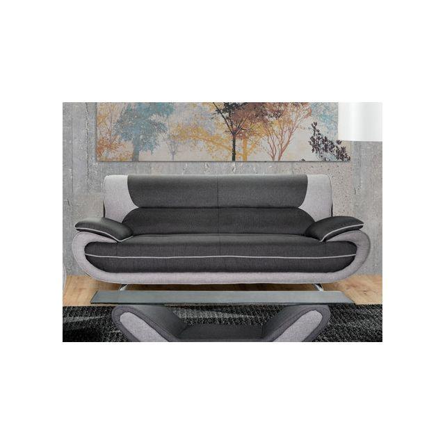 Canapé 3 places en tissu NIGEL - Anthracite et gris clair