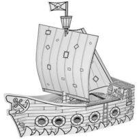 Koh-I-Noor - Bateau de pirate en carton blanc à colorier