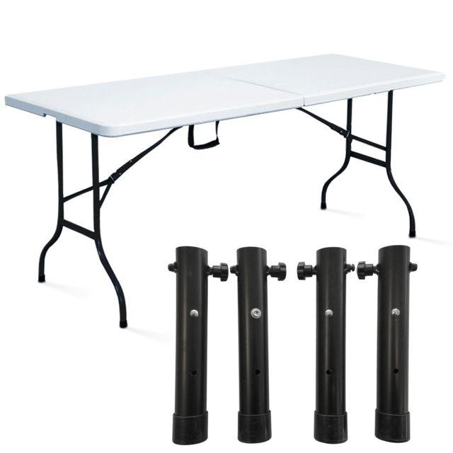 Mobeventpro - Table pliante blanche 180 cm avec réhausseurs - pas ...