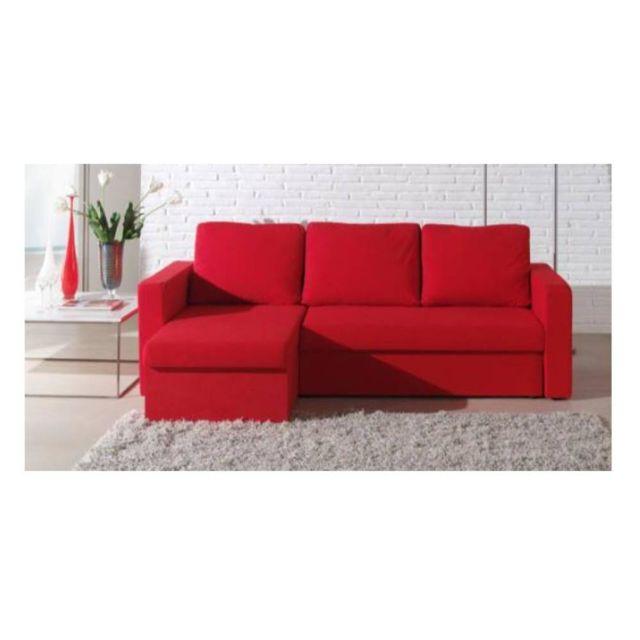 énorme réduction fd23b 91483 Canapé d'angle convertible gigogne Altus 140cm en microfibre rouge